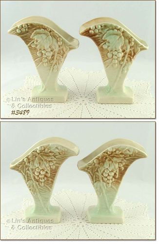 McCOY POTTERY � PAIR OF RUSTIC LINE VASES