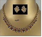 VINTAGE TOPAZE COLOR RHINESTONE NECKLACE AND EARRINGS
