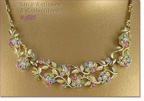 VINTAGE FLOWERS RHINESTONE NECKLACE