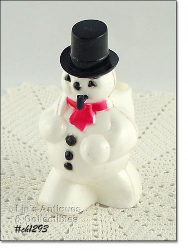 SNOWMAN WITH PIPE CANDY CONTAINER