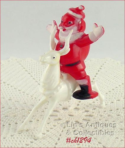SANTA ON REINDEER CANDY CONTAINER