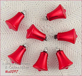 7 SHINY BRITE RED BELL SHAPED VINTAGE ORNAMENTS