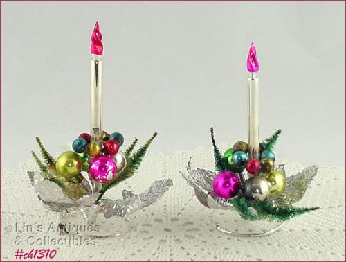 CANDLEHOLDERS WITH GLASS CANDLES (2)