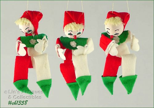 THREE FELT CLOWN ORNAMENTS