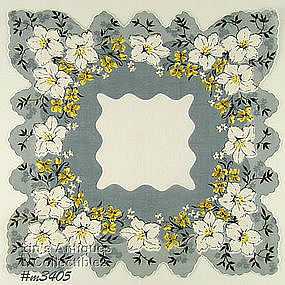 GRAY WITH WHITE FLOWERS SCALLOPED HEM HANKY