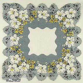 GRAY WITH WHITE FLOWERS SCALLOPED HEM HANKY