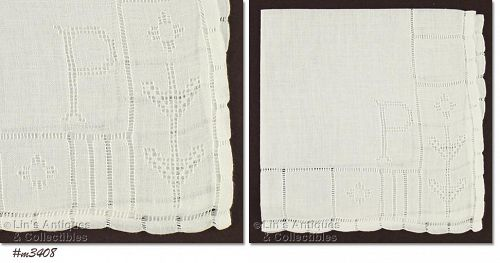WHITE HANDKERCHIEF WITH DRAWN WORK �P� MONOGRAM