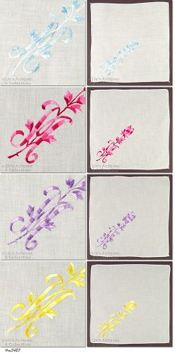 SET OF 4 �M� MONOGRAMMED HANDKERCHIEFS