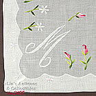 ROSEBUDS AND PALE BLUE �M� MONOGRAM HANKY