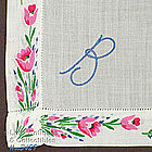 BLUE �B� MONOGRAM WITH FLORAL BORDER HANKY