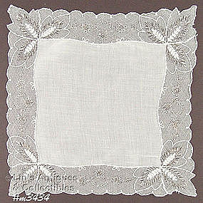 WEDDING HANDKERCHIEF WITH NETTING BORDER