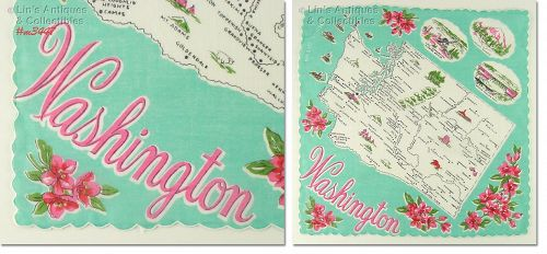 STATE SOUVENIR HANKY FOR WASHINGTON