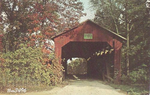 POSTCARD � CORNSTALK BRIDGE, PUTNAM CO, INDIANA