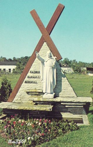 POSTCARD � FATHER MARQUETTE SHRINE, ST. IGNACE, MI