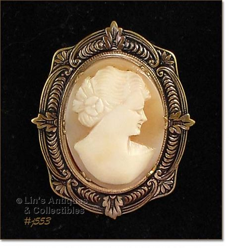 VINTAGE CARVED SHELL CAMEO PIN