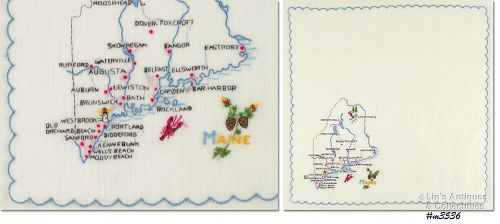 EMBROIDERED STATE SOUVENIR HANDKERCHIEF, MAINE