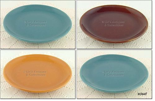 McCOY POTTERY � SUBURBIA WARE DINNER PLATES (4)
