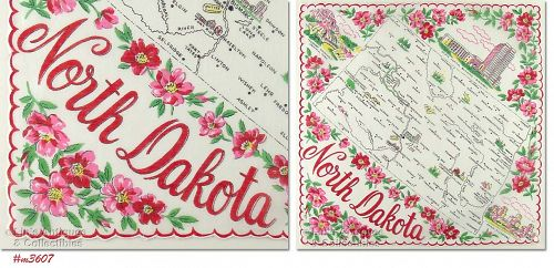 STATE SOUVENIR HANDKERCHIEF, NORTH DAKOTA