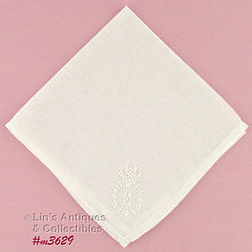 MONOGRAM �M� WHITE ON WHITE HANDKERCHIEF