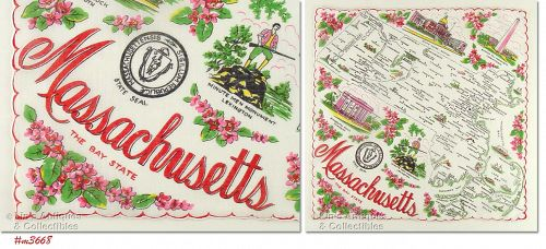 STATE SOUVENIR HANKY, MASSACHUSETTS, �THE BAY STATE�