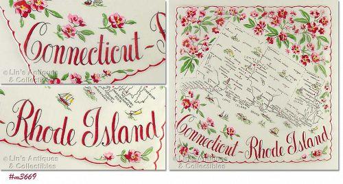 STATE SOUVENIR HANDKERCHIEF, CONNECTICUT-RHODE ISLAND
