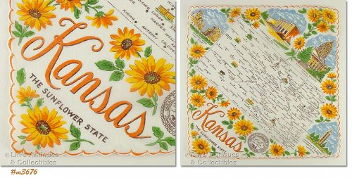STATE SOUVENIR HANKY, KANSAS, �THE SUNFLOWER STATE�