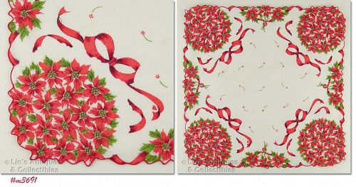 BOUQUETS OF CHRISTMAS POINSETTIAS VINTAGE HANDKERCHIEF