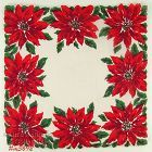 CHRISTMAS POINSETTIAS VINTAGE HANDKERCHIEF