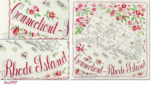 STATE SOUVENIR HANKY, CONNECTICUT AND RHODE ISLAND