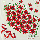 POINSETTIA BOUQUET AND SNOWFLAKES CHRISTMAS HANKY