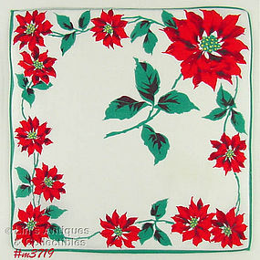 RED POINSETTIA CHRISTMAS HANDKERCHIEF