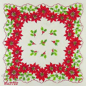 POINSETTIAS AND HOLLY CHRISTMAS HANDKERCHIEF