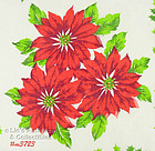 THREE RED POINSETTIAS CHRISTMAS HANDKERCHIEF