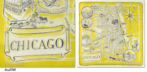 SOUVENIR HANDKERCHIEF, CITY OF CHICAGO