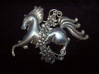 Old Linear Los Castillo Galloping Horse Brooch / Pin