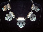 Huge Vintage Mexican Silver Necklace  Deco Elegance!