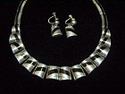 Ledesma Vintage Mexican Silver Obsidian Necklace Ears