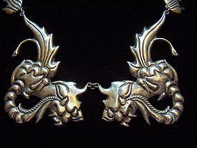Vintage Mexican Silver Dragons Necklace