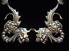 Vintage Mexican Silver Dragons Necklace