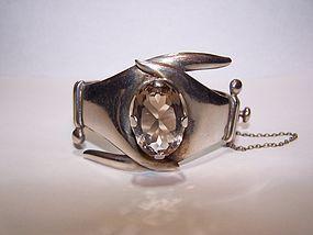 Vintage Mexican Silver Huge Smokey Quartz Bracelet