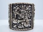 Repousse Deity Vintage Mexican Silver Bracelet
