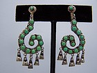 Vintage Mexican Silver  And Stone Earrings