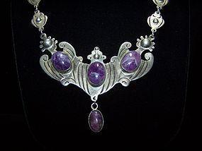 Amethyst Mexico City Vintage Mexican Silver Necklace