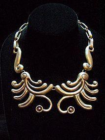 Fantastic Repousse Vintage Mexican Silver Necklace