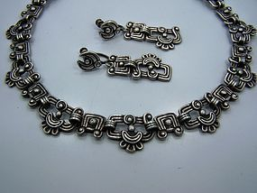 Los Castillo Glyph Vintage  Mexican Silver Necklace Set