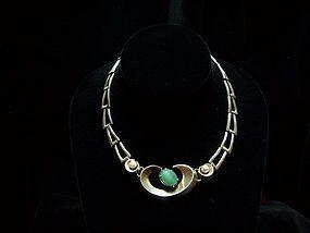 Salvador Teran Vintage Mexican Silver Pearl and Stone
