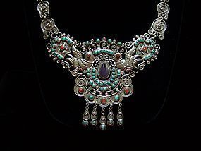 Matl Design Mexican Silver Repousse Necklace
