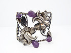Amethyst Vintage Mexican Silver Floral Cuff / Bracelet