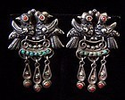 Matl Matilde Poulat Double Birds Vintage Mexican Silver Earrings