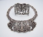 Margot de Taxco 5112 Vintage Mexican Silver Necklace and Bracelet